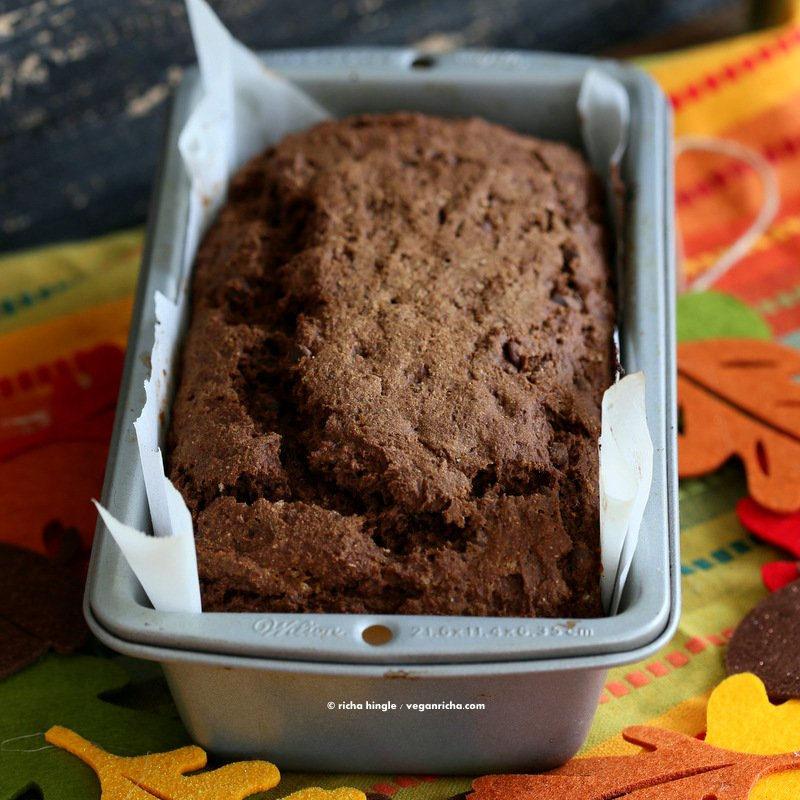 Vegan Chocolate Pumpkin Cake Mix is a perfect gift in a jar. Just add pumpkin & non dairy milk and bake. Spiced, Moist, delicious. One Bowl Pumpkin Chocolate Bread or Cake. | Vegan Richa