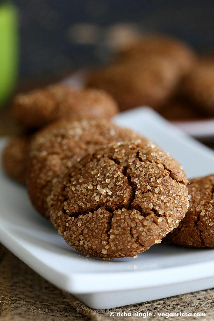 Gluten free Ginger Crinkle Cookie | Vegan Richa