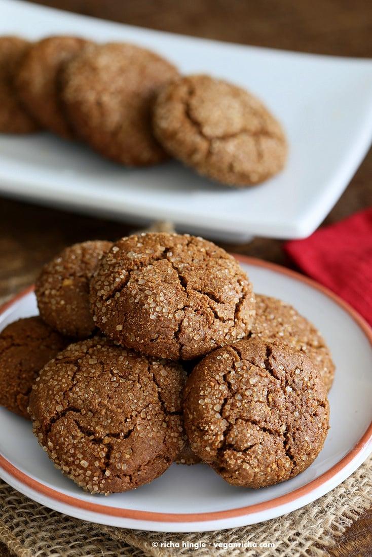 Gluten free Ginger Molasses Crinkle Cookies | Vegan Richa