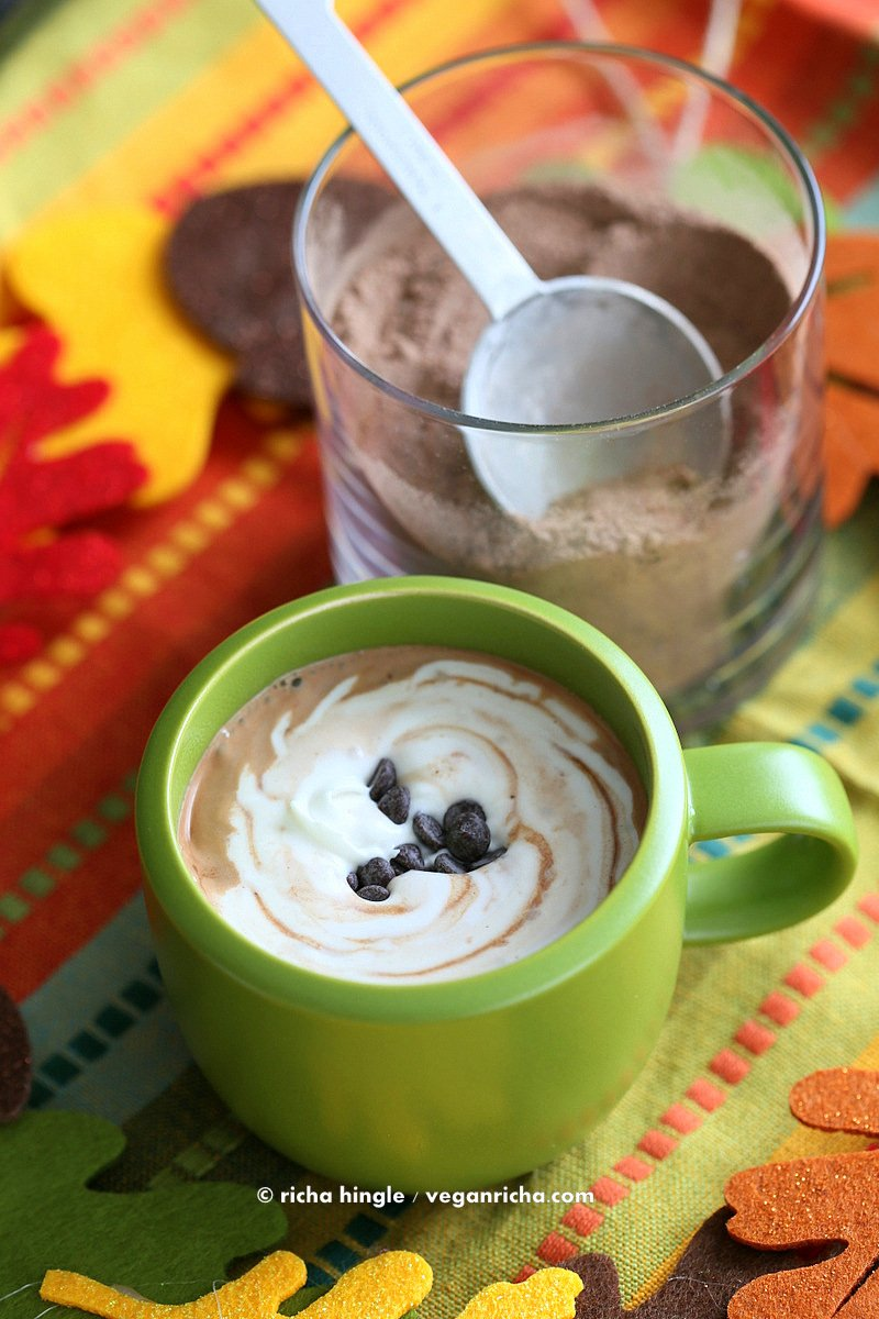 Mexican Hot Chocolate Mix | Vegan Richa #vegan #holiday #chocolate Make it with Pumpkin Pie Spice, Chai Spice, Mint chocolate, gingerbread, Caramel, Nut butter and more