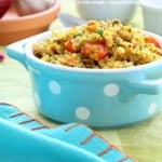 South Indian Quinoa Salad in a blue polka dot dish