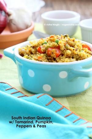 South Indian Quinoa Salad in a blue polka dot dish