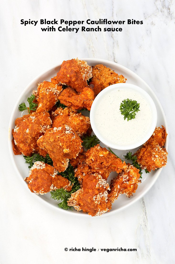 Spicy Cauliflower Bites with Celery Ranch | Vegan richa