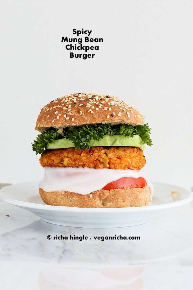Spicy Chickpea Lentil Burger | Vegan Richa