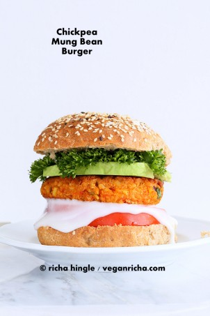 Spicy Chickpea Lentil Burgers