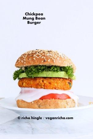 Spicy Chickpea Lentil Burgers