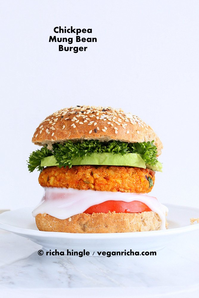 Spicy Chickpea Lentil Burger and 35 Vegan Veggie Burger Recipes | VeganRicha.com