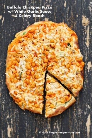 Vegan Buffalo Chickpea Pizza with celery ranch #veganricha #easyveganrecipes