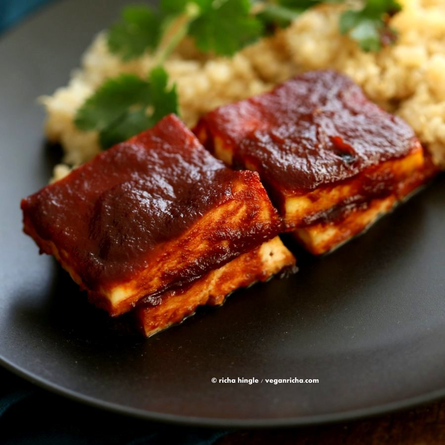 Barbecue Tofu - Tofu baked with homemade BBQ sauce