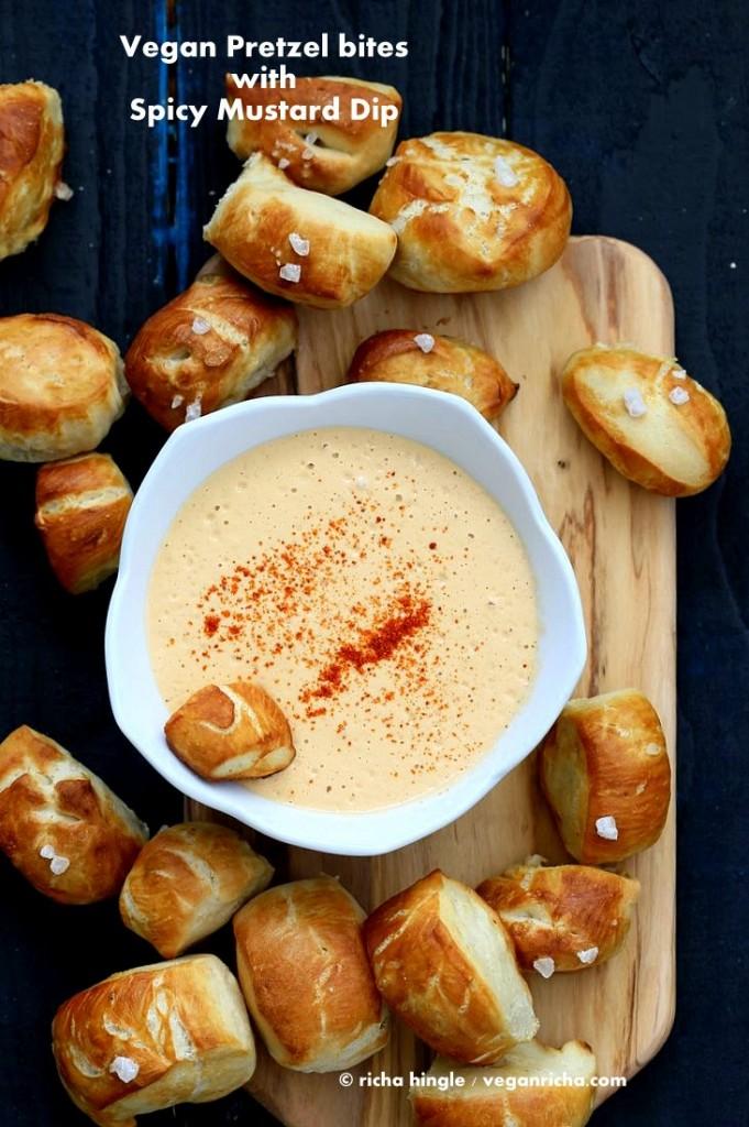 Vegan Pretzel Bites with Spicy Mustard Dip | Vegan Richa