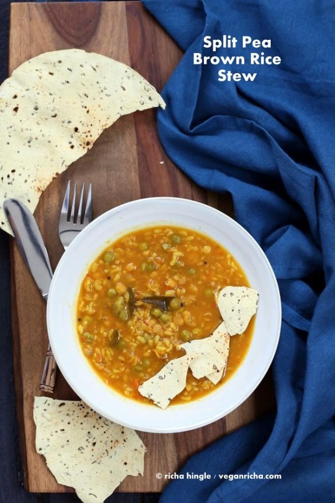 Bisi Bele Bath - Split Pea Brown Rice Soup | Vegan Richa