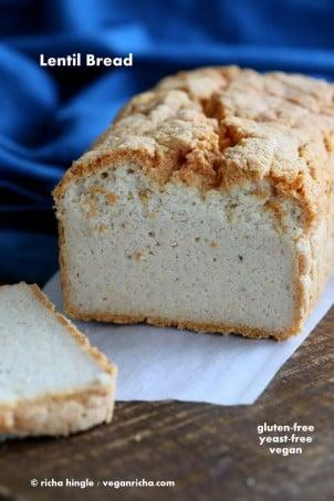 Lentil Bread Gluten free Yeast-free Vegan Sandwich Bread Recipe