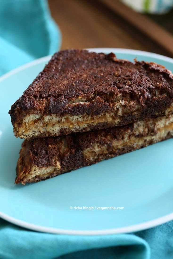 PB Date Caramel Brownie French Toast | Vegan Richa