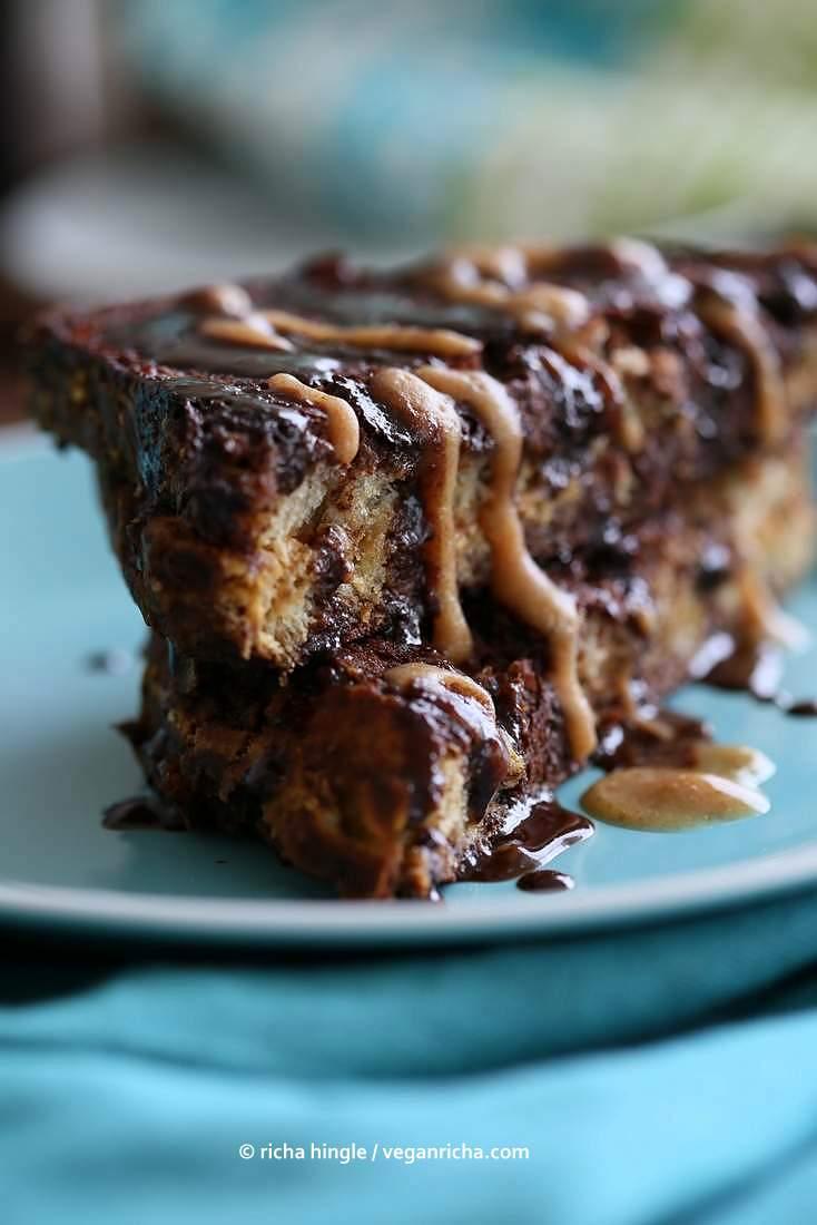 PB Date Caramel stuffed Brownie French Toast | Vegan Richa