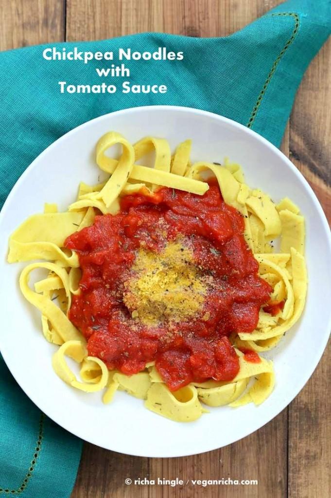 Vegan Chickpea Noodles with garlic tomato sauce | Vegan Richa
