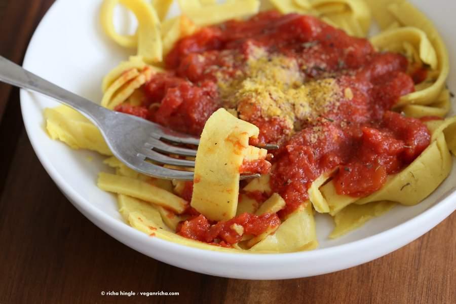 ... chickpea chorizo quinoa shells in tomato pasta sauce creamy pasta