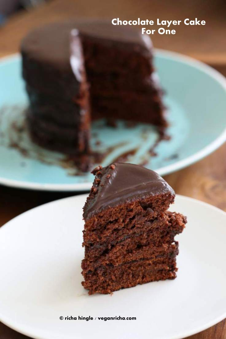 Chocolate Layer Cake for 1. Chocolate Pancake Tower #vegan #veganricha
