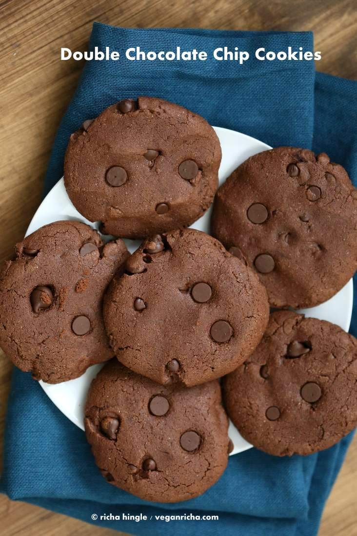 Vegan Double Chocolate Chip Cookies - Vegan Richa