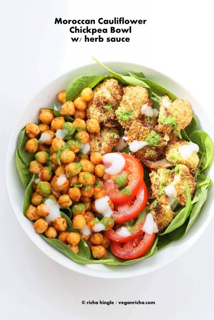 Moroccan Chickpea Cauliflower Bowl with Herb sauce | Vegan Richa