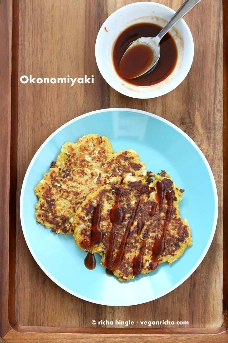 Vegan Okonomiyaki - Veggie pancakes with homemade tonkatsu sauce #vegan #veganricha