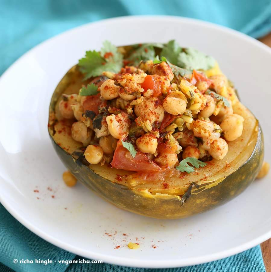 Pressure Cooker Curried chickpea Stuffed Acorn Squash | Vegan Richa