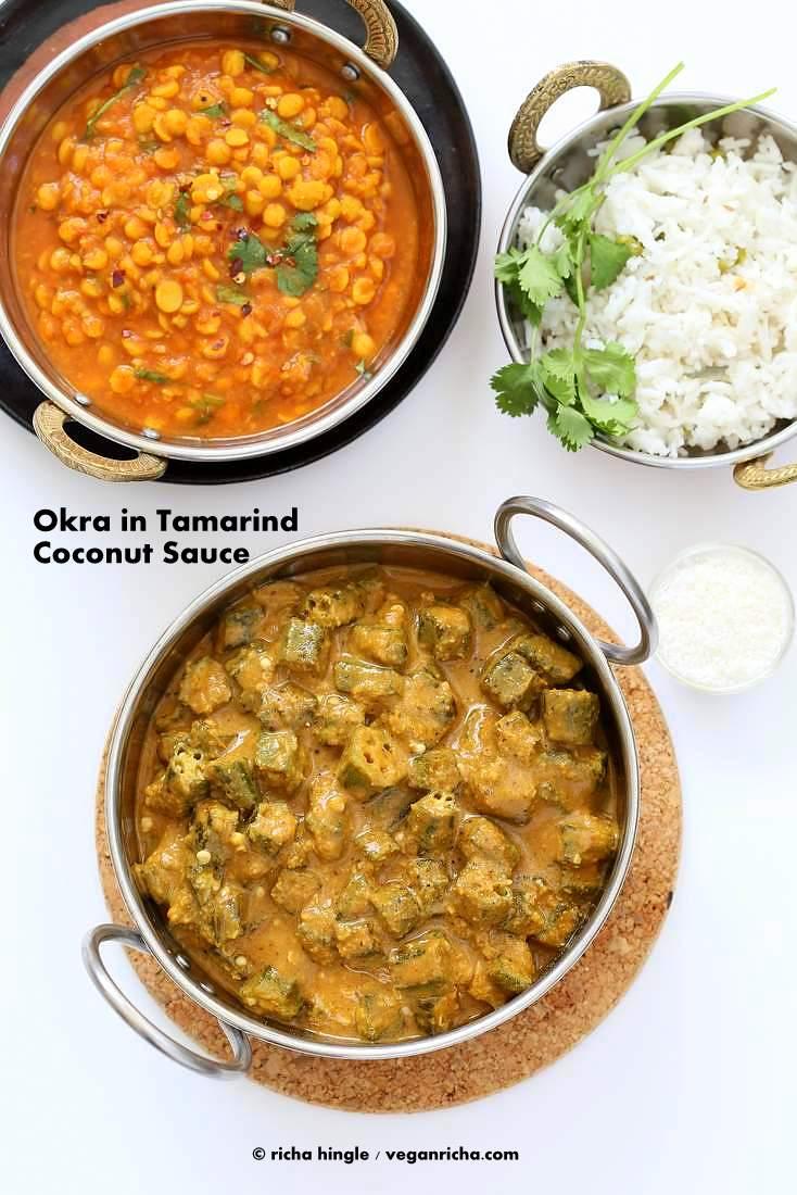 Okra Kuzhambu - Okra in tamarind coconut sauce | Vegan Richa