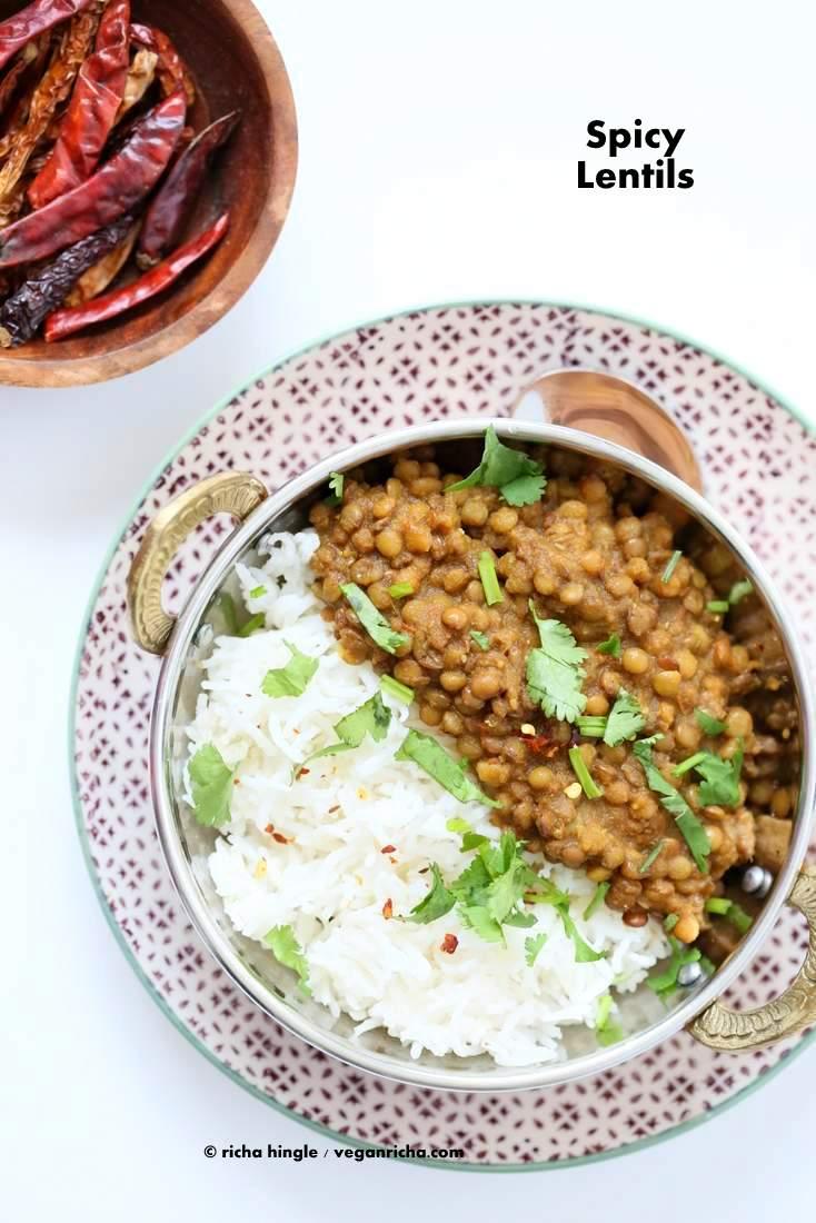 Oil free Lentil Soup - Spicy Dal | Vegan Richa