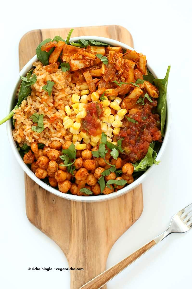 Vegan Tinga bowl with Hearts of Palm, Chickpeas, Spanish Rice | Vegan Richa