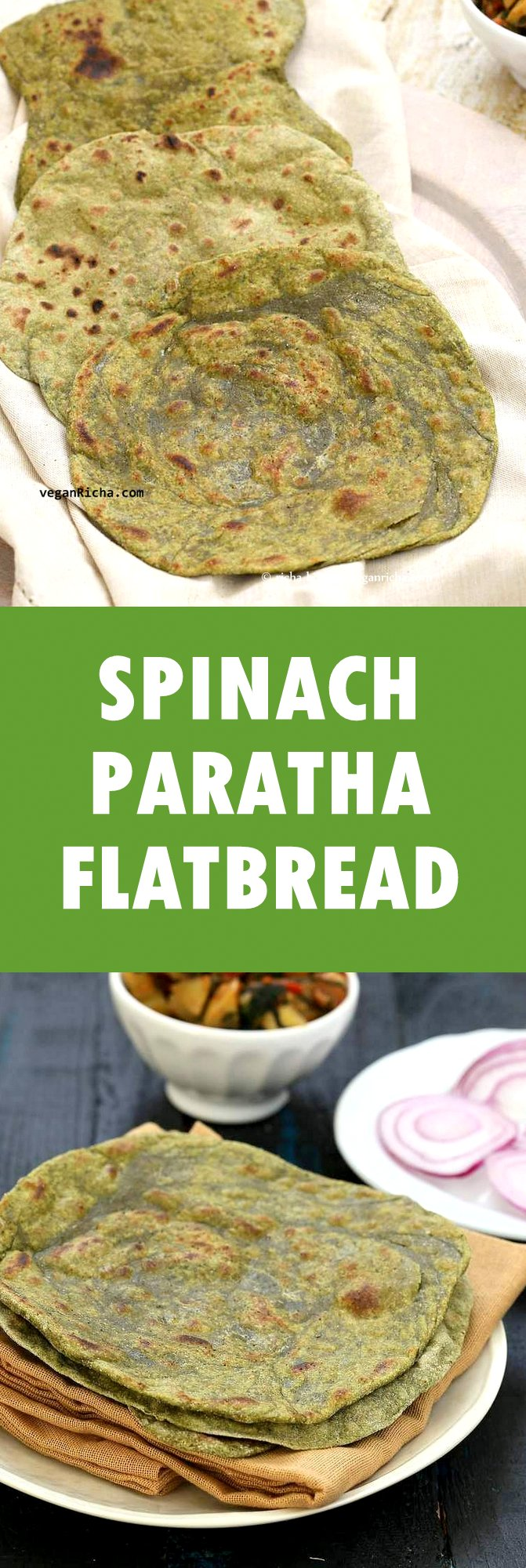 Spinach Paratha flatbread. Palak Paratha. Blended Spinach in the dough makes moist green flatbread. Vegan Yeast-free Indian Recipe. Use as Spinach Tortilla or stuff with favorite fillings. | VeganRicha.com