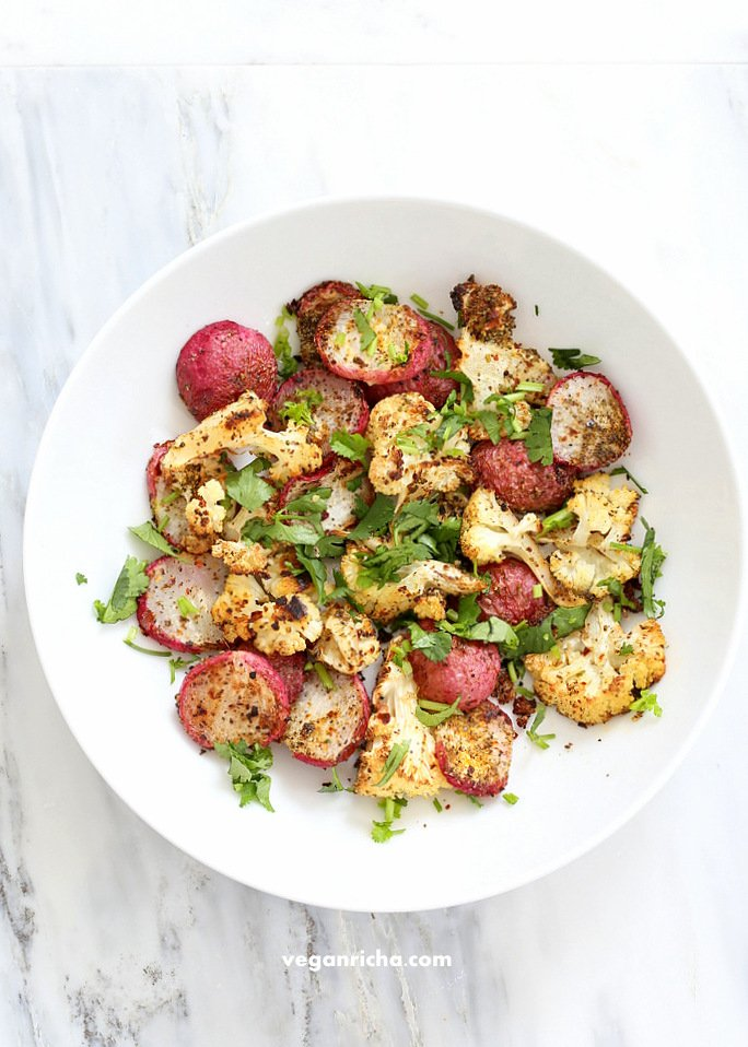 Roasted Cauliflower and Radishes with Indian Spices | Vegan Richa