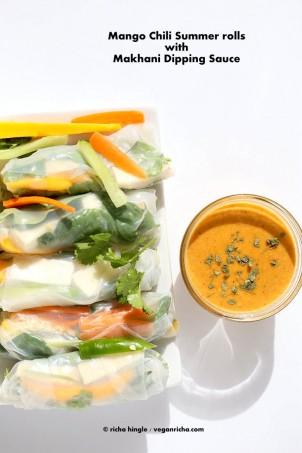 Mango Summer Rolls with Makhani dipping sauce | Vegan Richa #glutenfree #veganricha #vegan