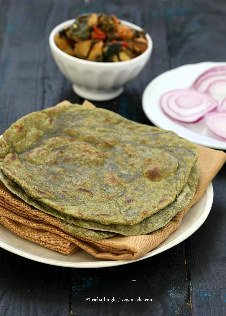 Spinach Paratha flat bread   Vegan Richa