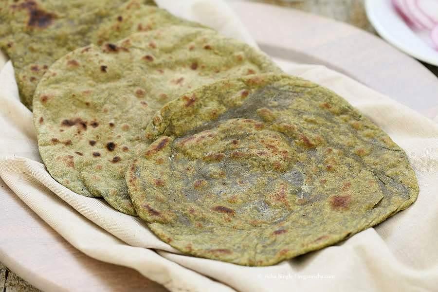 Spinach Paratha flatbread | Vegan Richa