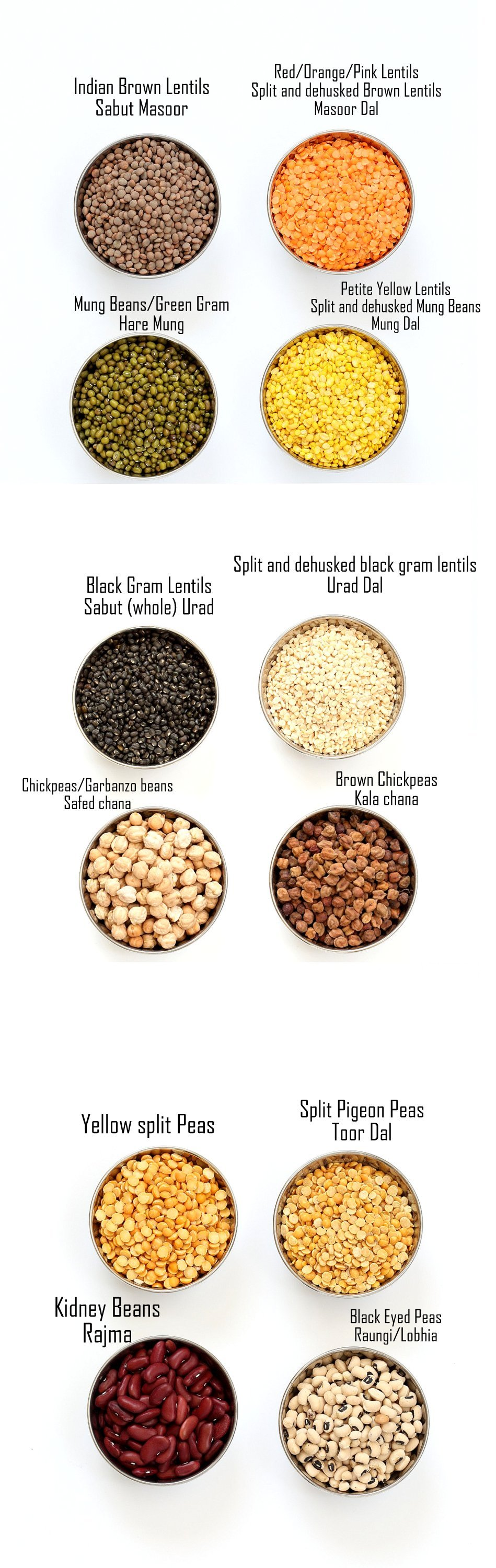 Indian Dals Names, Dals and Legumes - Indian Dal Names in English and Hindi with pictures. Split Chickpeas (Chana Dal), Red Lentils (Masoor Dal), Petite Yellow Lentils (Mung Dal) and more. Glossary of Lentils, legumes, beans. | Vegan Richa| Vegan Richa