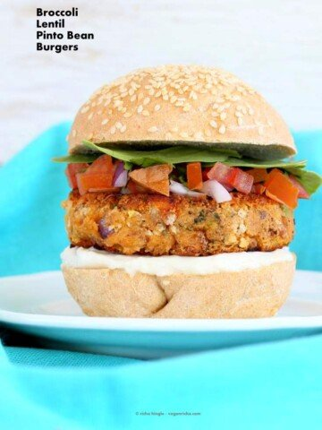 Pinto Bean Broccoli Lentil Burgers | Vegan Richa #vegan #glutenfree #veganricha