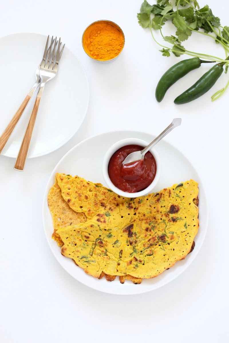 Chilla, Cheela or Pudla are simple Indian breakfast pancakes. These Vegan Chickpea flour Pancakes are crepe like savory breakfast. Add veggies to the batter or serve with roasted veggies and a dip. Gluten-free Soy-free Nut-free Recipe.  | Vegan Richa