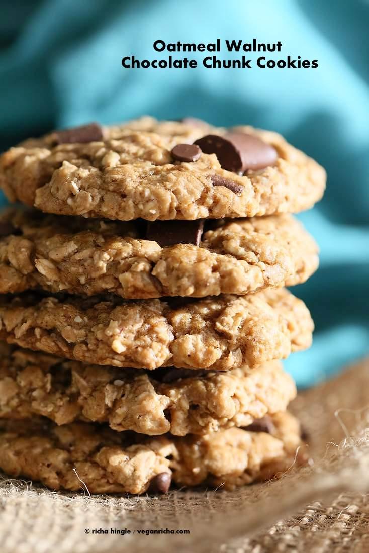 Oatmeal Walnut Chocolate Chunk Cookies | Vegan Richa