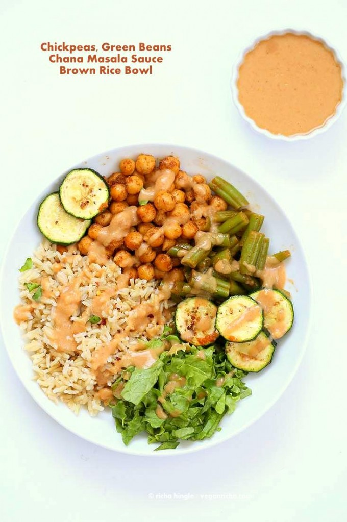 Masala Chickpea Bowl with Chana masala Spice Chickpea Dressing   Vegan Richa