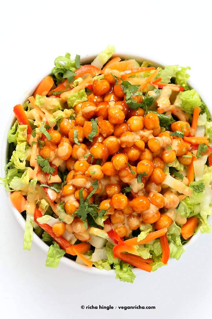 Crunchy Salad with firecracker Chickpeas and Peanut sauce   Vegan Richa