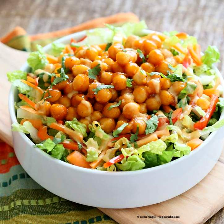 Crunchy Salad with firecracker Chickpeas and Peanut sauce | Vegan Richa