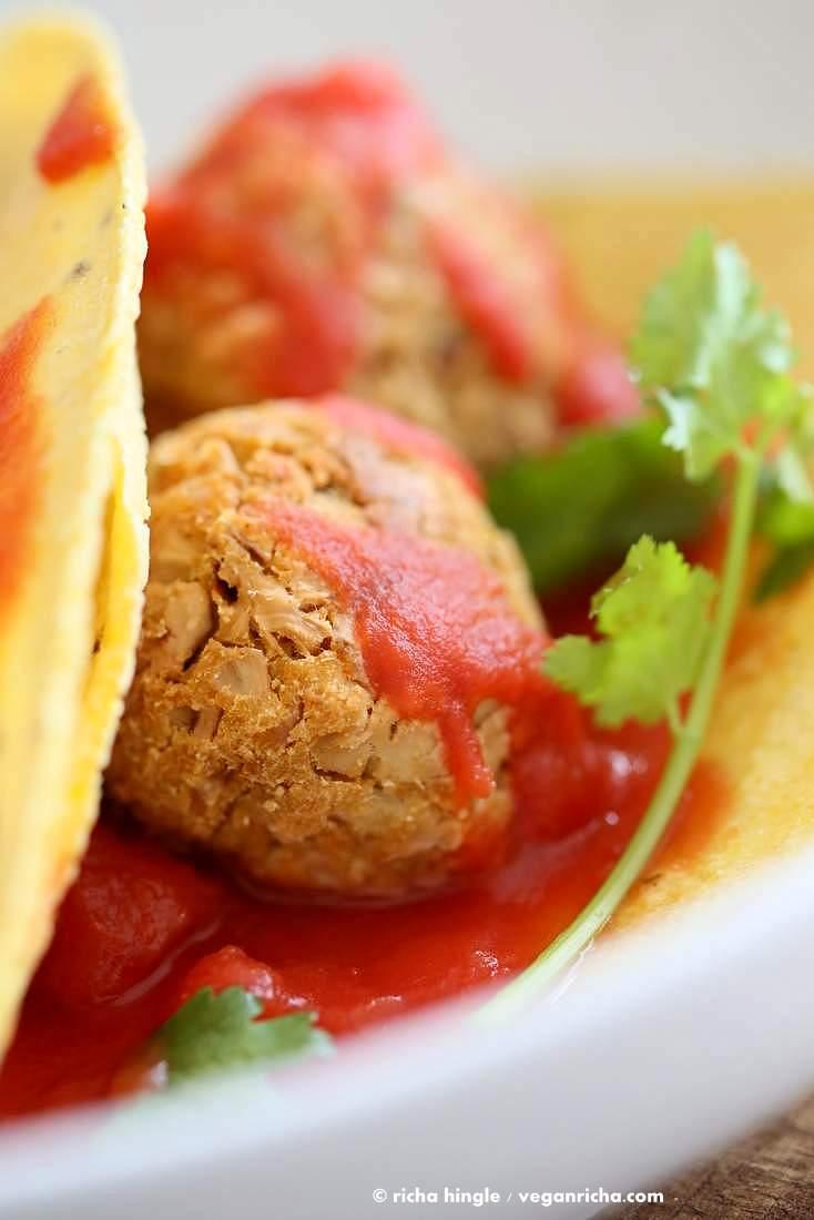 Jackfruit Meatballs Tacos | Vegan Richa
