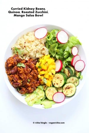 Curried Kidney Beans, Quinoa, Roasted Zucchini, Mango Salsa Bowl | Vegan Richa