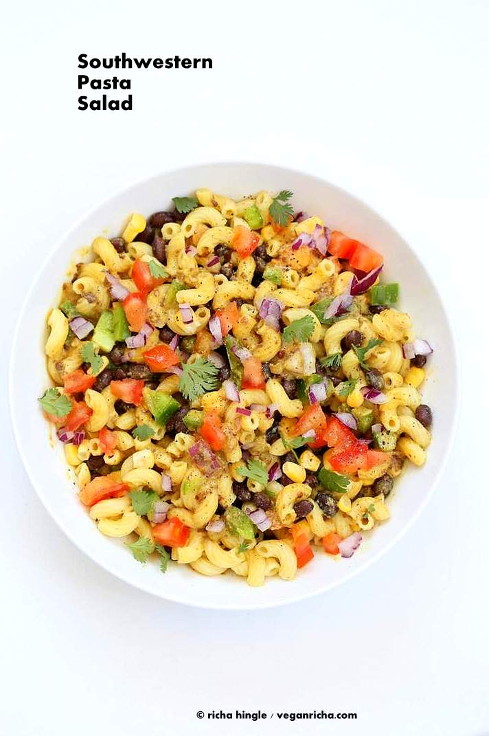 Vegan Southwestern Pasta Salad with pasta, black beans, veggies tossed in a creamy black bean dressing VeganRicha.com #vegan #salad #recipe #oilfree