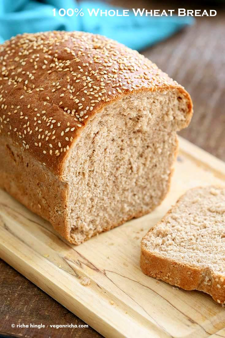 100% Whole Wheat Bread Recipe | Vegan Richa #whole #wheat #sandwich #