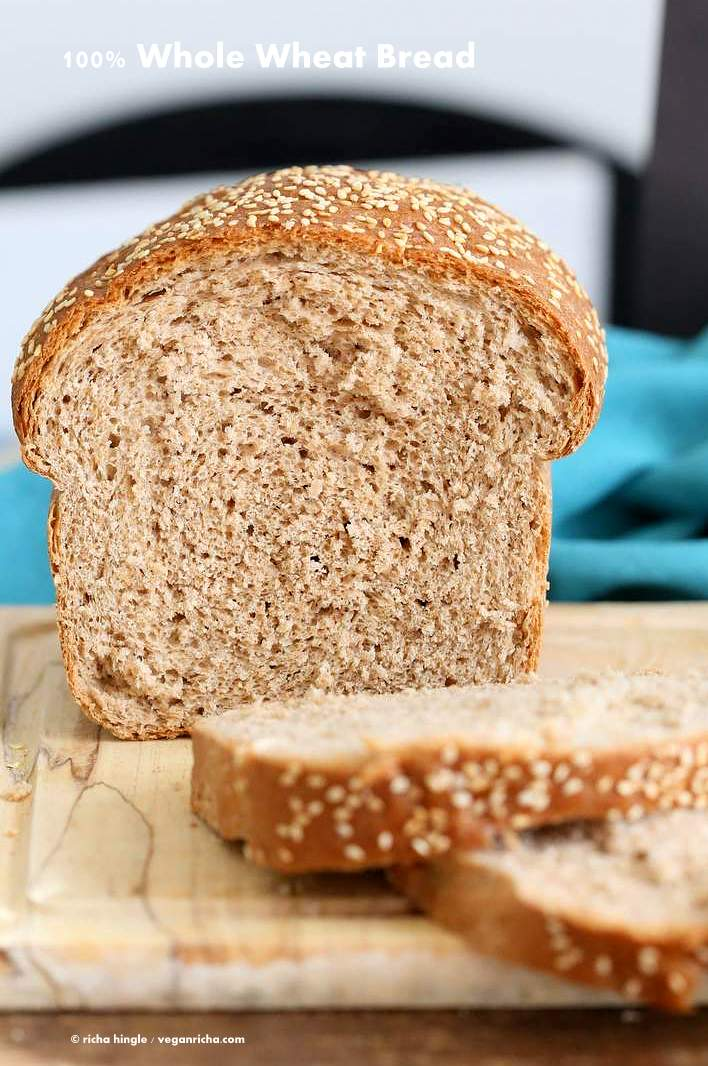 100% Whole Wheat Bread Recipe | Vegan Richa #whole #wheat #sandwich #Bread