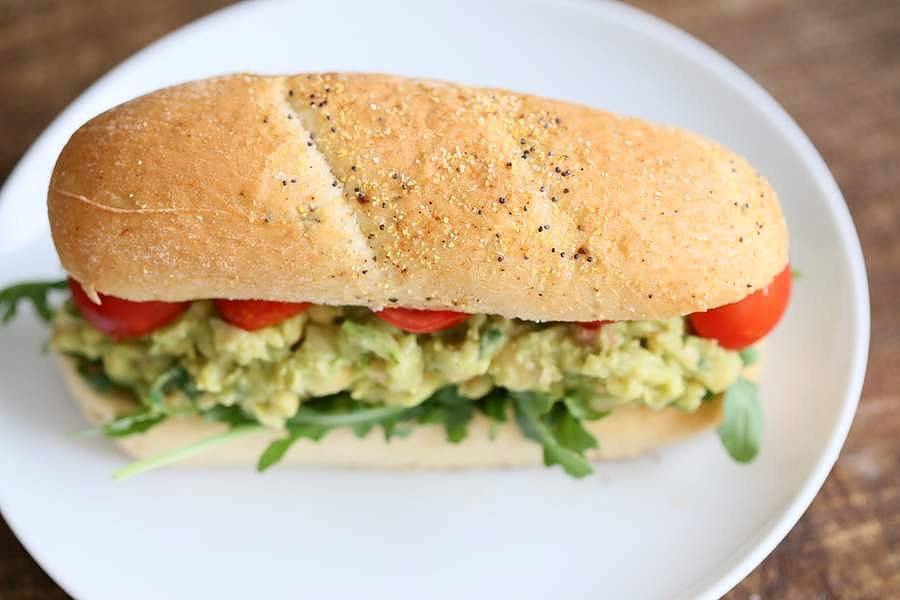 Spicy Avocado Chickpea Salad Sandwich | http://veganricha.com #vegan # ...