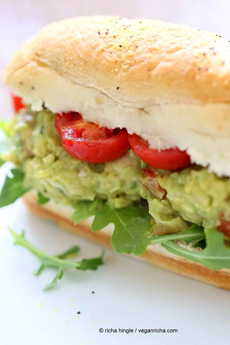 Spicy Avocado Chickpea Salad Sandwich | http://veganricha.com #vegan #soyfree #chickpea #avocado Serve as sandwiches, tacos or Smashed Chickpea Avocado Salad bowl to make gluten-free.