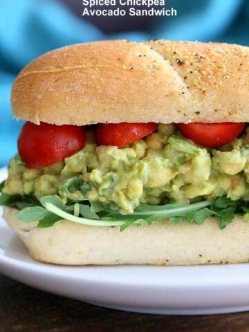 Spicy Avocado Chickpea Salad Sandwich   https://veganricha.com #vegan #soyfree #chickpea #avocado #glutenfree #veganricha #vegan