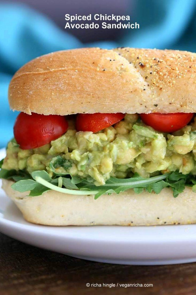 Spicy Avocado Chickpea Salad Sandwich | http://veganricha.com #vegan #soyfree #chickpea #avocado