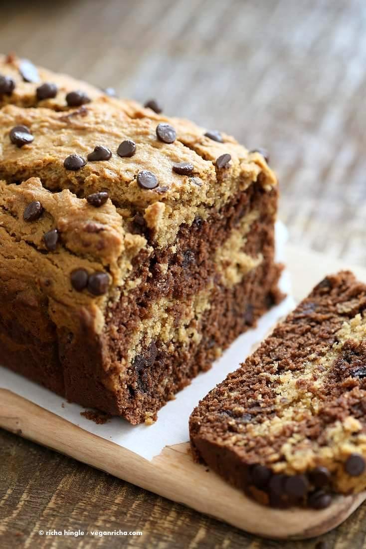 Peanut Butter Chocolate Marble Cake   Vegan Richa #vegan #peanutbutter #chocolate #cake #recipe